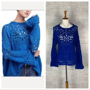 Free People blue chunky knit pullover sweater